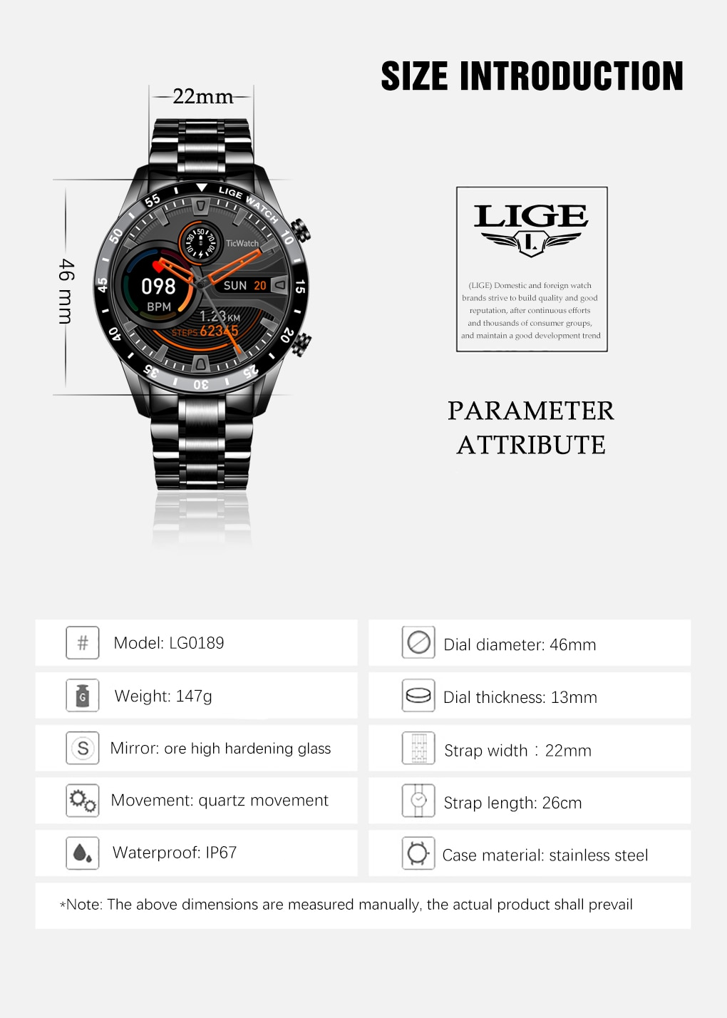 LIGE 2021 New Men Smart Watch Bluetooth Call Watch IP67 Waterproof Sports Fitness Watch For Android IOS Smart Watch 2021 + Box